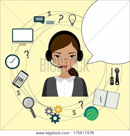 Customer service design, Cartoon phone operator and icons.  stock vector illustration.