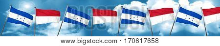 Honduras flag with Indonesia flag, 3D rendering