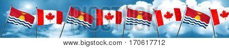 Kiribati flag with Canada flag, 3D rendering
