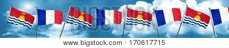 Kiribati flag with France flag, 3D rendering