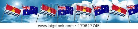 Kiribati flag with Australia flag, 3D rendering