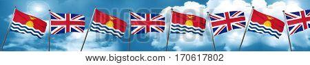 Kiribati flag with Great Britain flag, 3D rendering