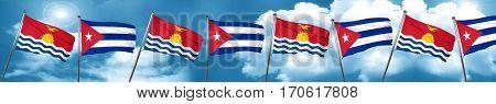Kiribati flag with cuba flag, 3D rendering