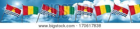 Kiribati flag with Guinea flag, 3D rendering