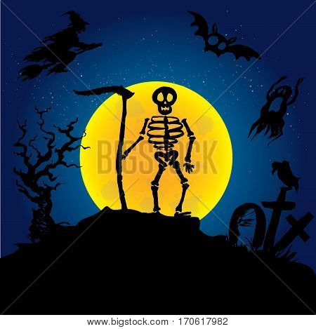 Halloween  skeleton on a graveyard. Scary background. Hand drawn vector illustration