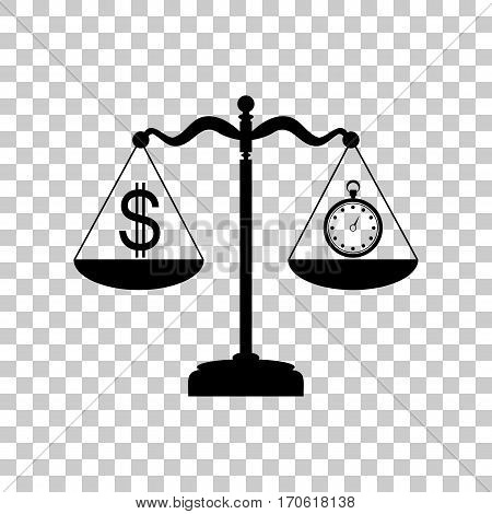Stopwatch and dollar symbol on scales. Black icon on transparent background.
