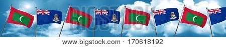 Maldives flag with Cayman islands flag, 3D rendering