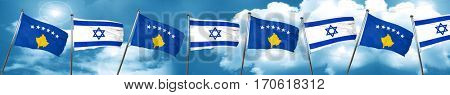 Kosovo flag with Israel flag, 3D rendering