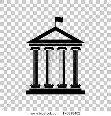 Historical building with flag. Black icon on transparent background.