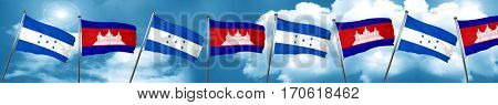 Honduras flag with Cambodia flag, 3D rendering
