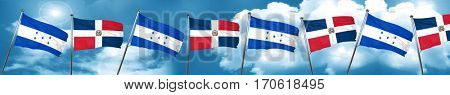 Honduras flag with Dominican Republic flag, 3D rendering
