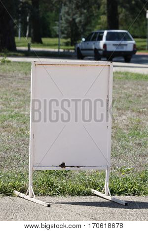 sign white empty grass outdoors plate billboard
