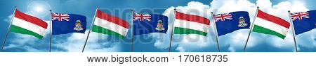 Hungary flag with Cayman islands flag, 3D rendering