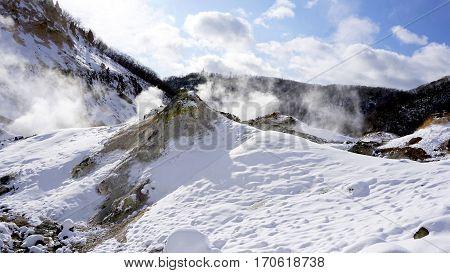 Noboribetsu Onsen Snow Mountain And The Mist Winter