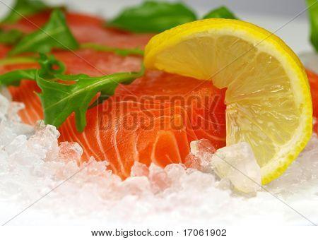 Fresh salmon steak on ice