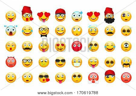 Emoji vector illustration. Emoticons isolated on white background. Different Emoticons.