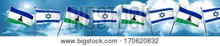 Lesotho flag with Israel flag, 3D rendering