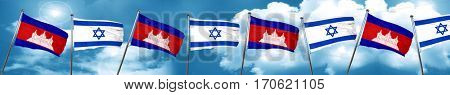 Cambodia flag with Israel flag, 3D rendering