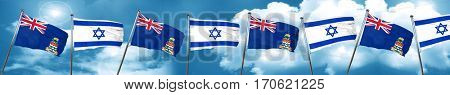 cayman islands flag with Israel flag, 3D rendering