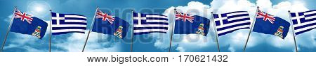cayman islands flag with Greece flag, 3D rendering
