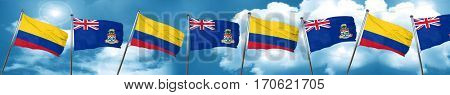 Colombia flag with Cayman islands flag, 3D rendering