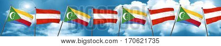 Comoros flag with Austria flag, 3D rendering
