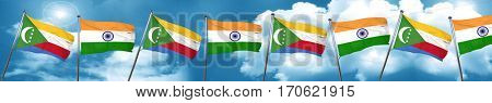 Comoros flag with India flag, 3D rendering