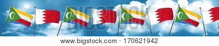 Comoros flag with Bahrain flag, 3D rendering