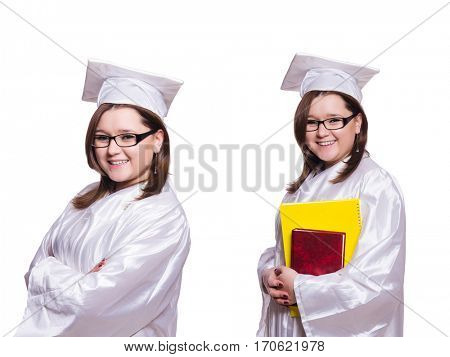 Female student isolated on white