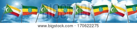 Comoros flag with Ethiopia flag, 3D rendering