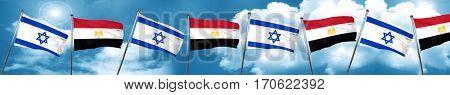 Israel flag with egypt flag, 3D rendering