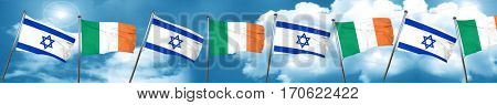 Israel flag with Ireland flag, 3D rendering