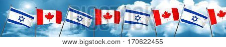 Israel flag with Canada flag, 3D rendering