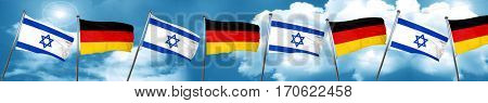 Israel flag with Germany flag, 3D rendering