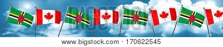 Dominica flag with Canada flag, 3D rendering