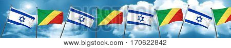 Israel flag with congo flag, 3D rendering