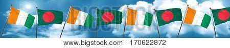 Ivory coast flag with Bangladesh flag, 3D rendering