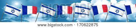 Israel flag with France flag, 3D rendering