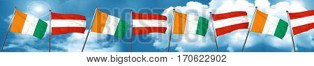 Ivory coast flag with Austria flag, 3D rendering