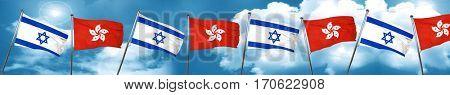 Israel flag with Hong Kong flag, 3D rendering