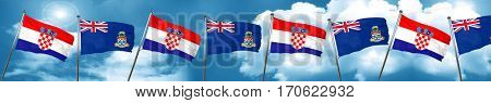 croatia flag with Cayman islands flag, 3D rendering