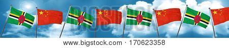 Dominica flag with China flag, 3D rendering