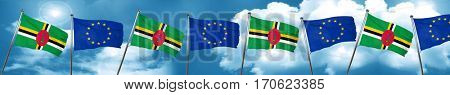 Dominica flag with european union flag, 3D rendering