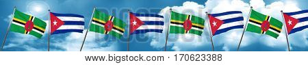 Dominica flag with cuba flag, 3D rendering