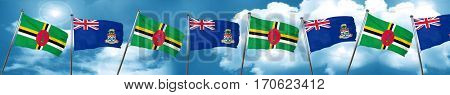 Dominica flag with Cayman islands flag, 3D rendering