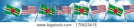 Dominica flag with American flag, 3D rendering