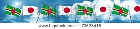 Dominica flag with Japan flag, 3D rendering