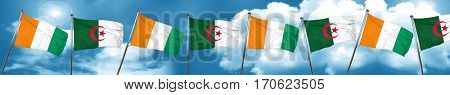 Ivory coast flag with Algeria flag, 3D rendering