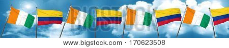 Ivory coast flag with Colombia flag, 3D rendering