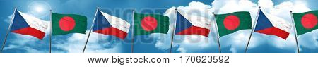 czechoslovakia flag with Bangladesh flag, 3D rendering